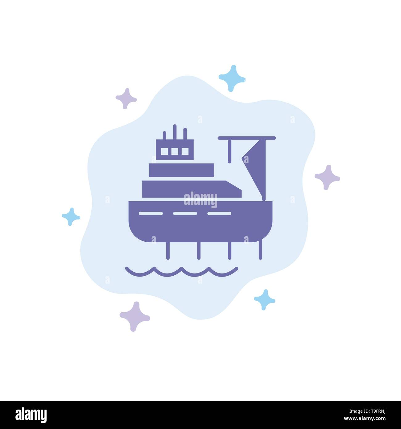 Ship, Boat, Cargo, Construction Blue Icon on Abstract Cloud Background - Stock Image