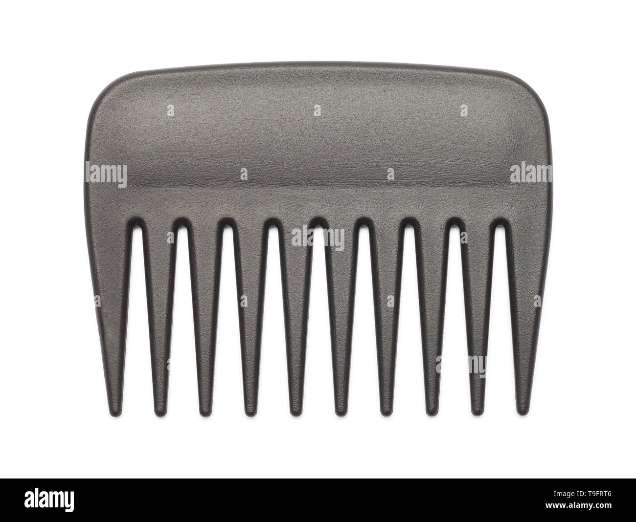Small Black Pick Comb Isolated on White Background. Stock Photo