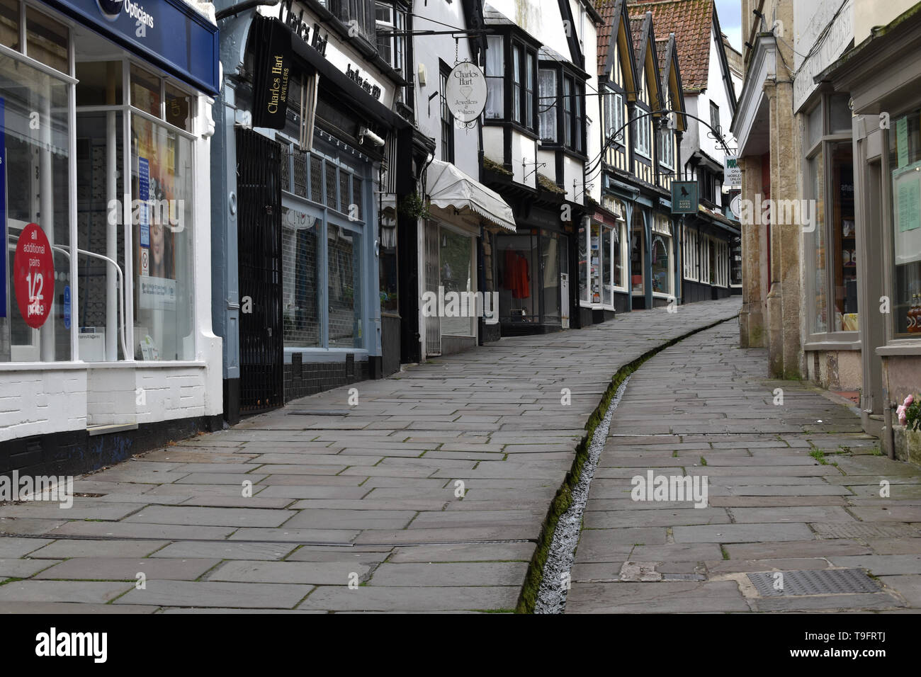 Cheap Street, a medieval street in Frome, UK - Stock Image