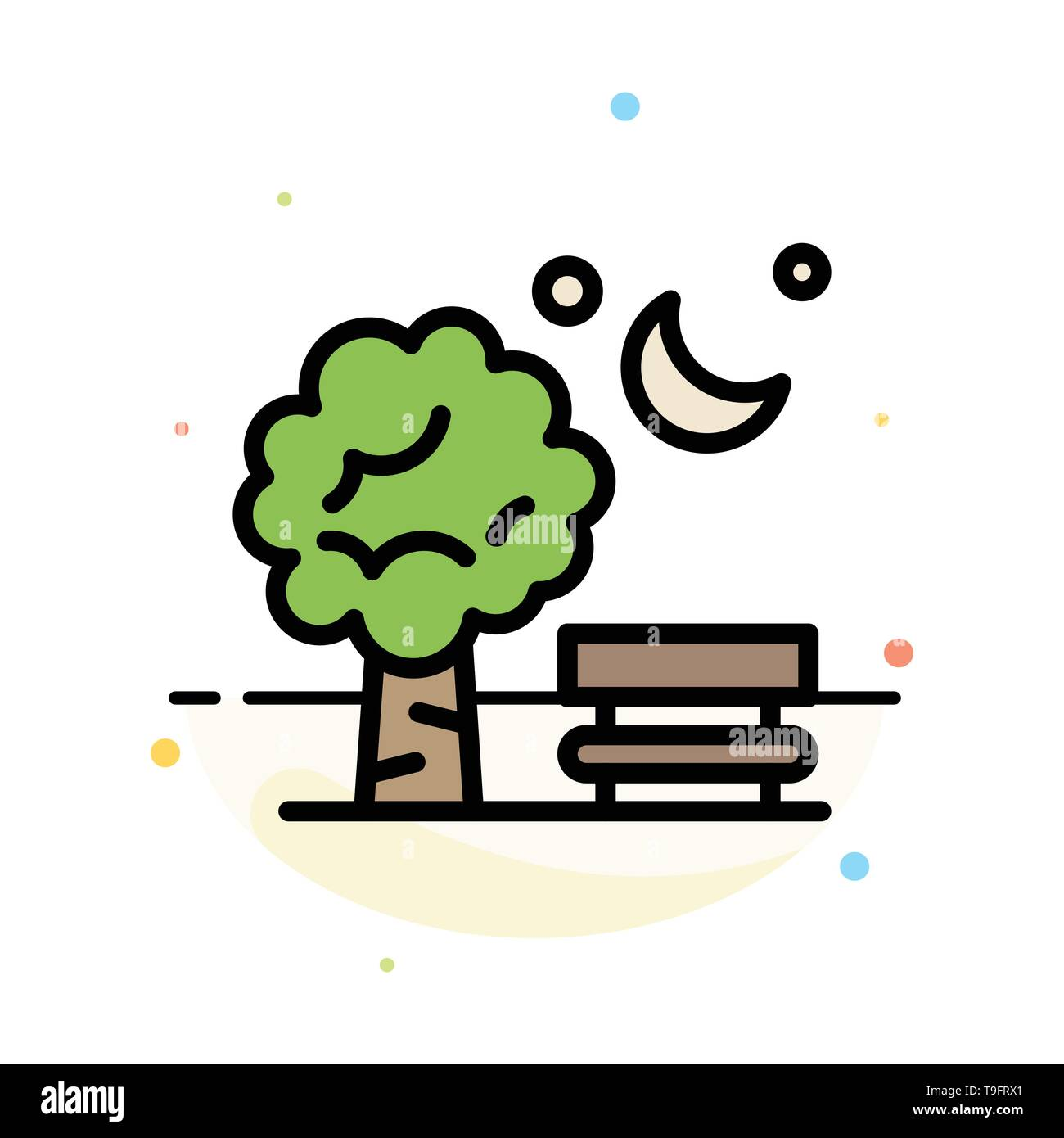 Bench, Chair, Park, Spring, Balloon Abstract Flat Color Icon Template - Stock Image
