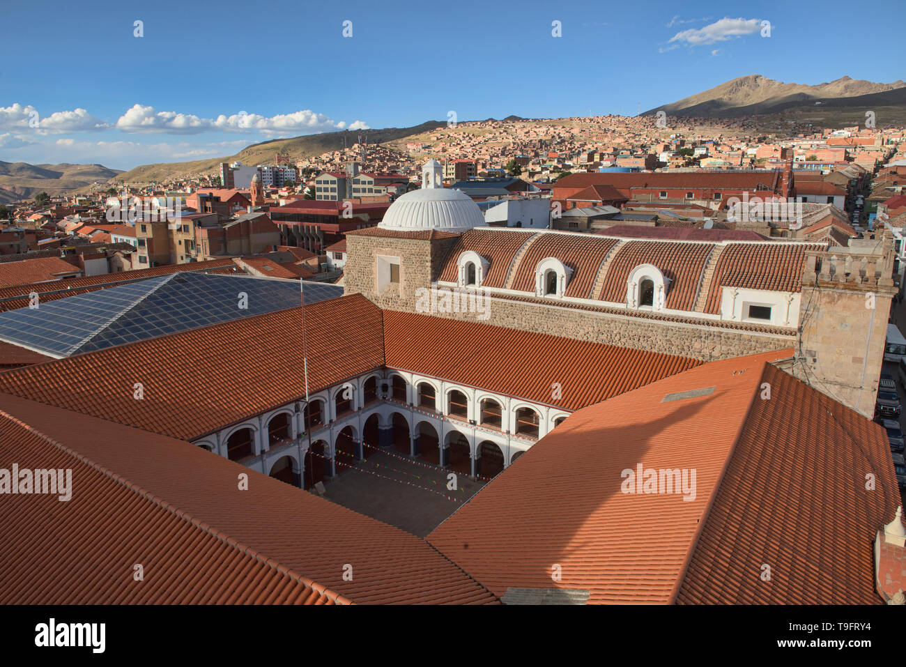 The Pichincha National College seen from the Cathedral Basilica, Potosí, Bolivia - Stock Image