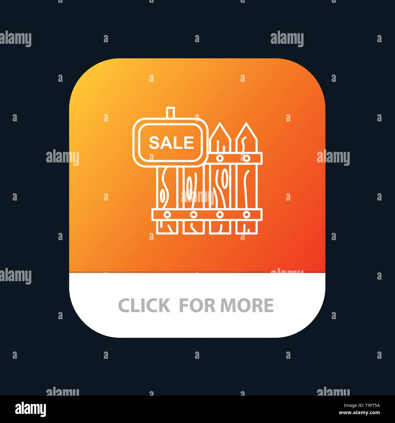 Fence, Wood, Realty, Sale, Garden, House Mobile App Button. Android and IOS Line Version - Stock Image