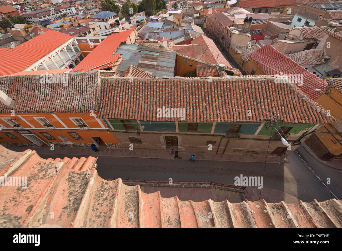 View from the San Francisco Convent of the colonial homes of Potosí, Bolivia - Stock Image