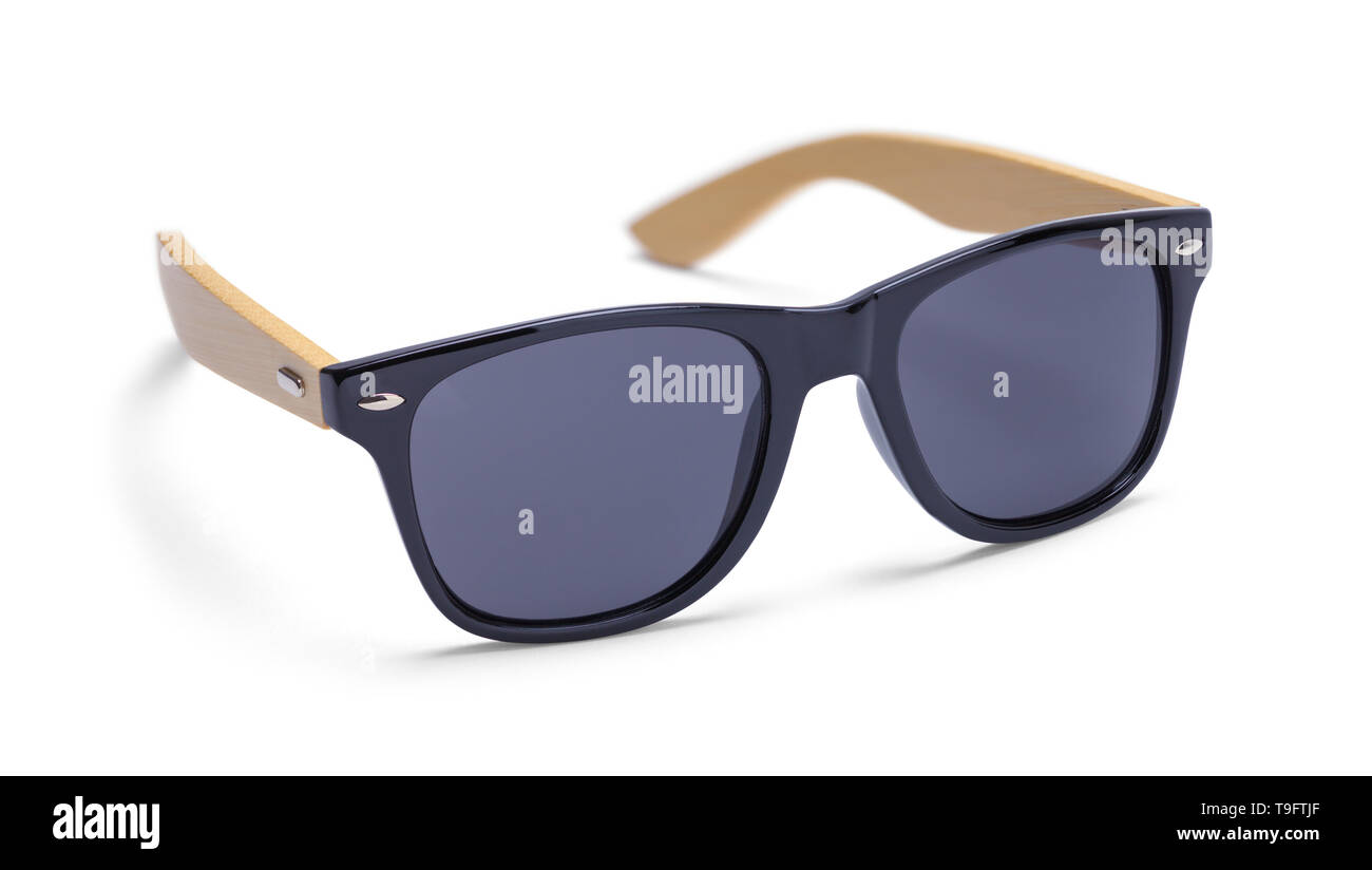 Black Sunglasses with Wood Arms Isolated on White Background. Stock Photo