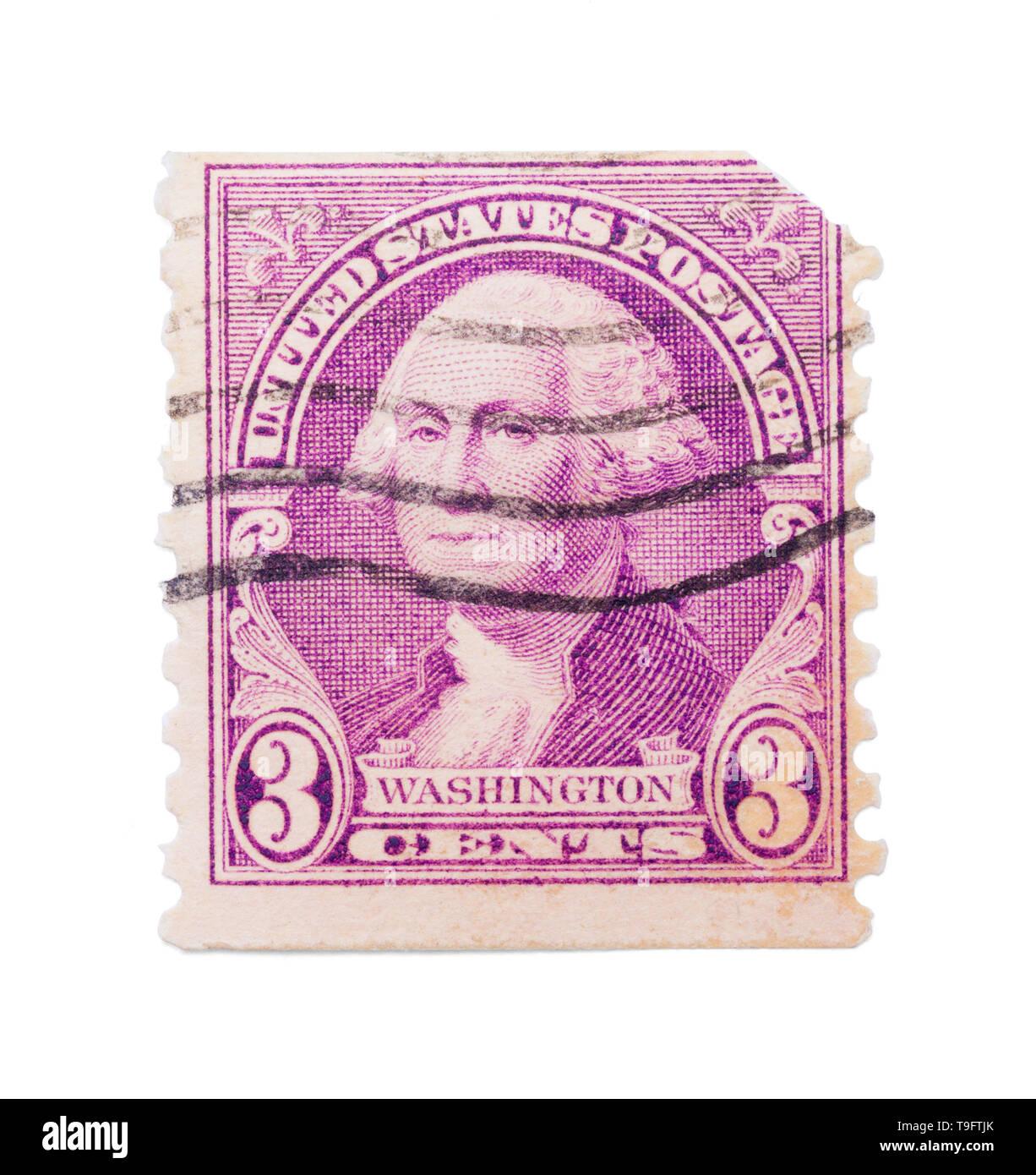 Old George Washington Stamp Isolated on White Background. - Stock Image