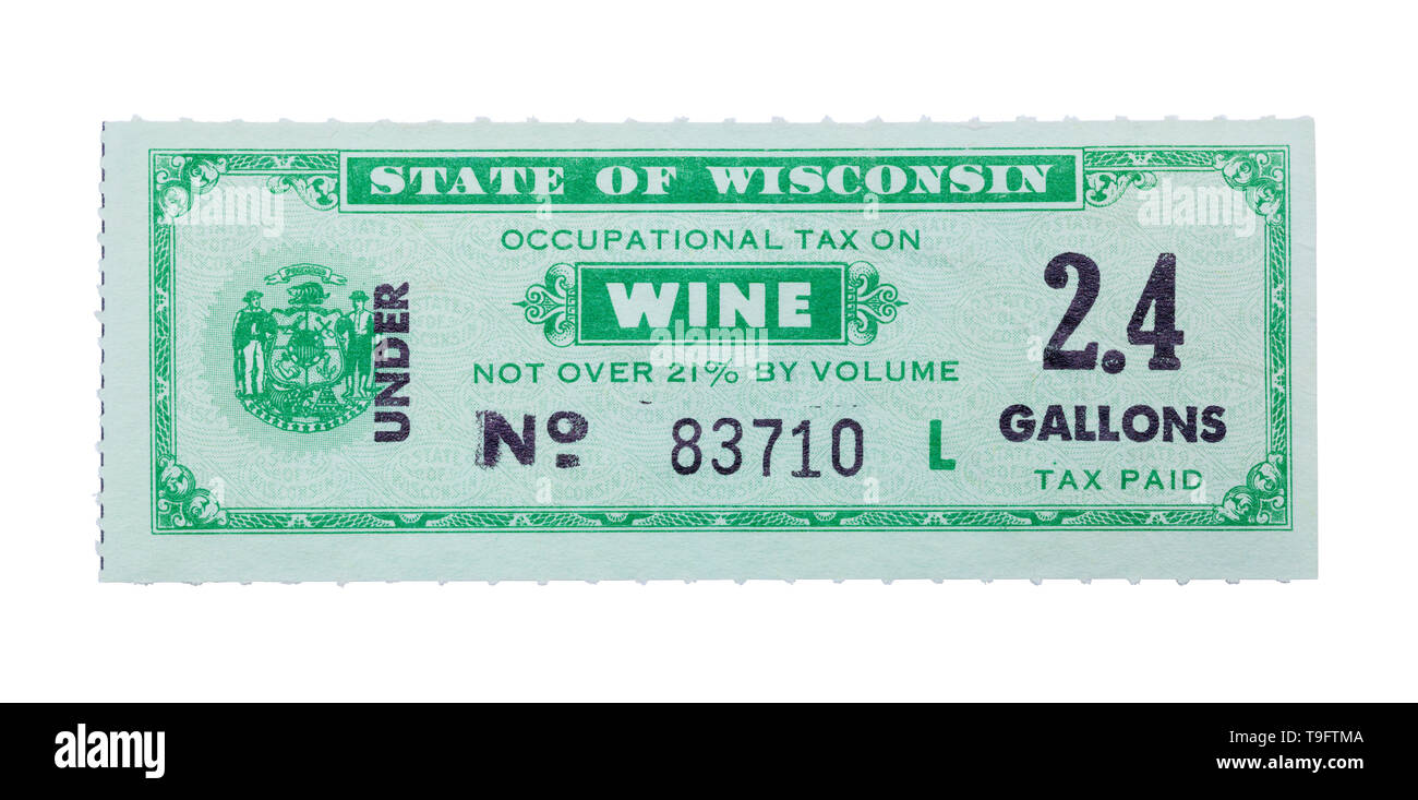 Old WIne Tax Stamp Isolated on White Background. - Stock Image