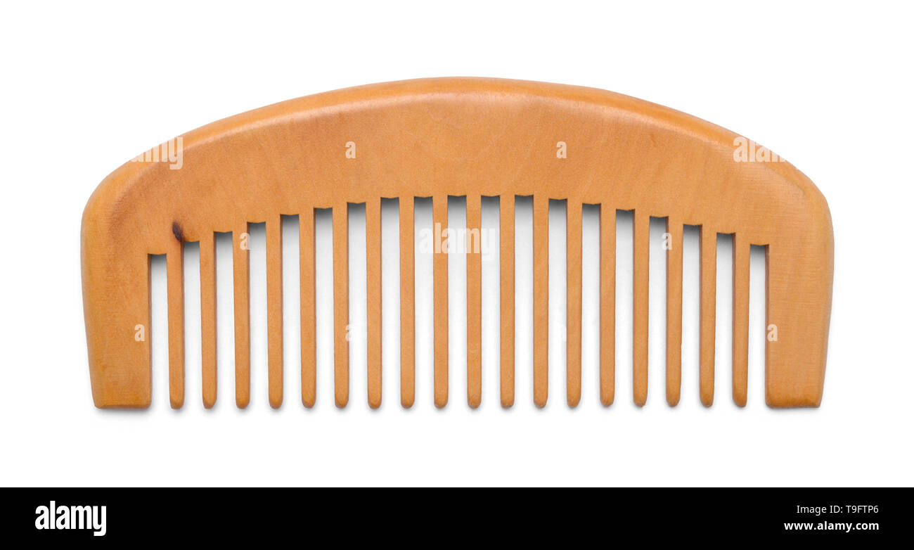 Small Wood Hand Comb Isolated on White Background. Stock Photo