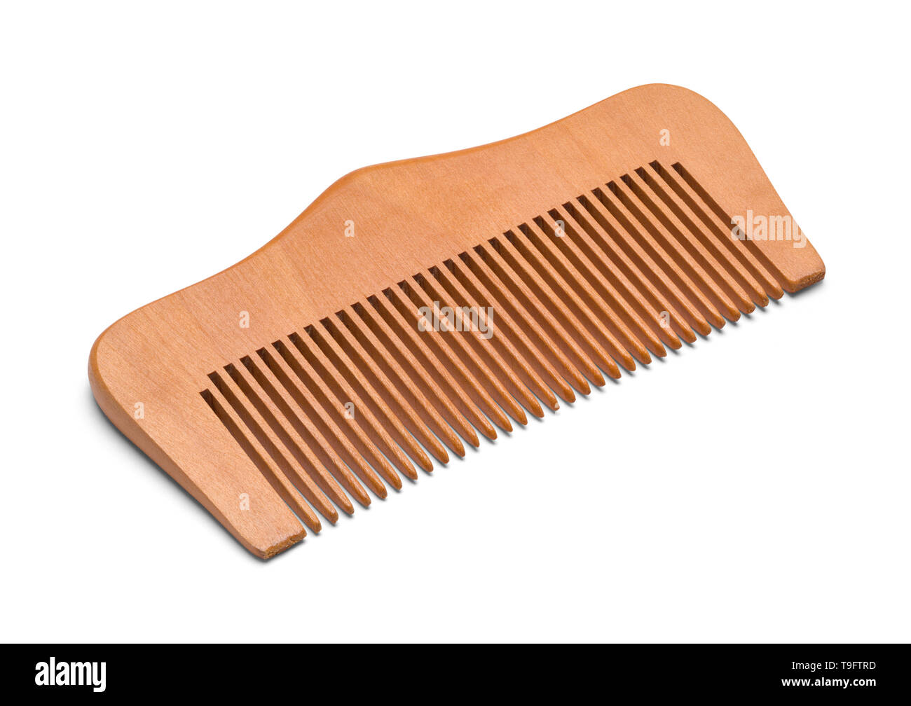 Wood Hand Comb Isolated on a White Bakground. Stock Photo