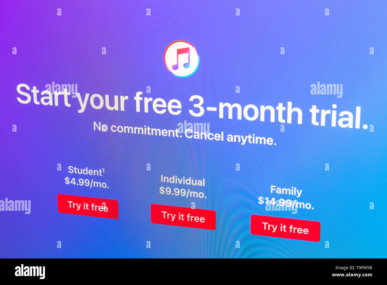 Apple Music website Start your free 3-month trial Stock