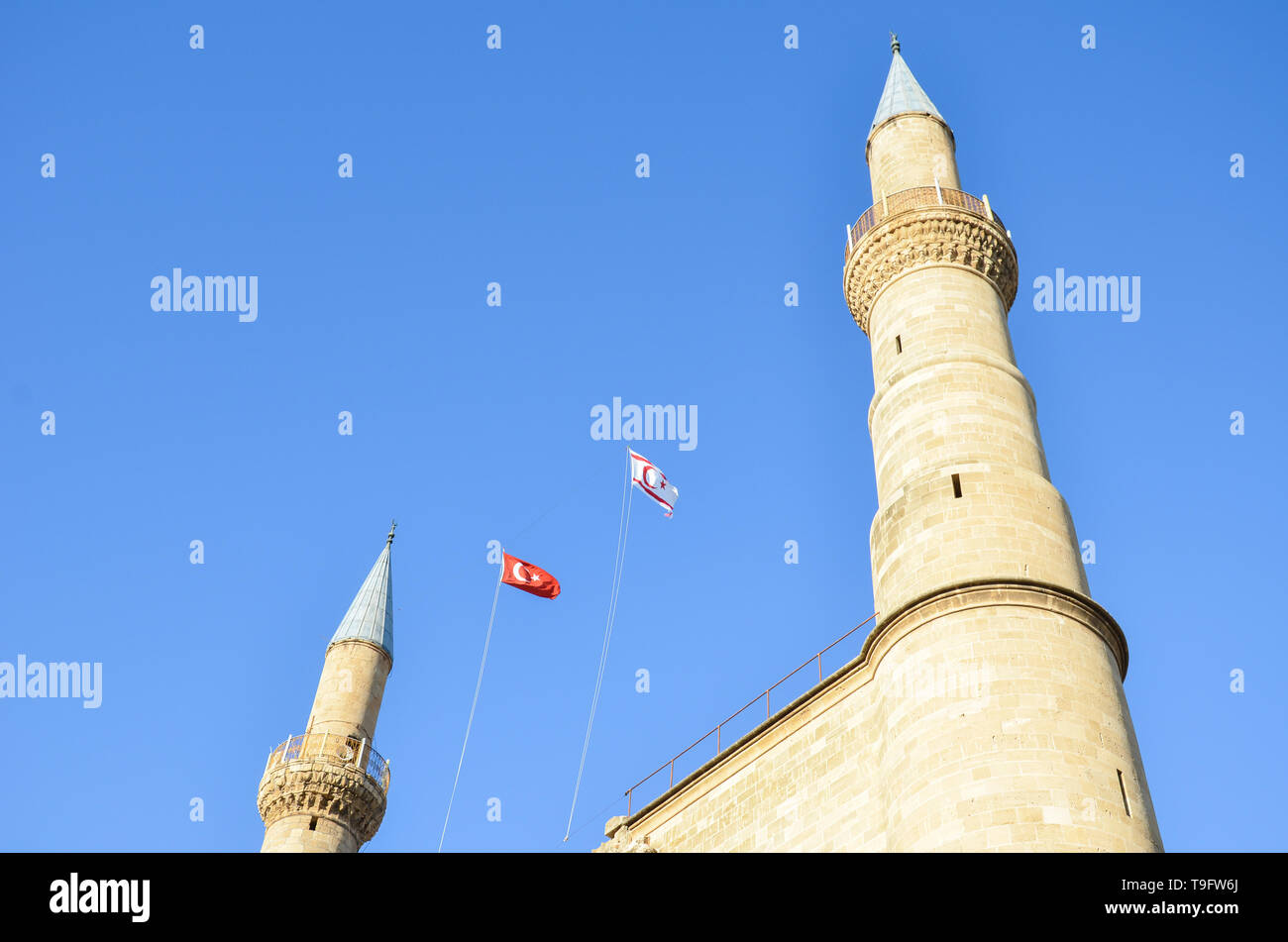 Amazing building of famous Selimiye Mosque in Cypriot Lefkosa taken from below with blue sky. Originally Roman Catholic Cathedral of Saint Sophia - Stock Image