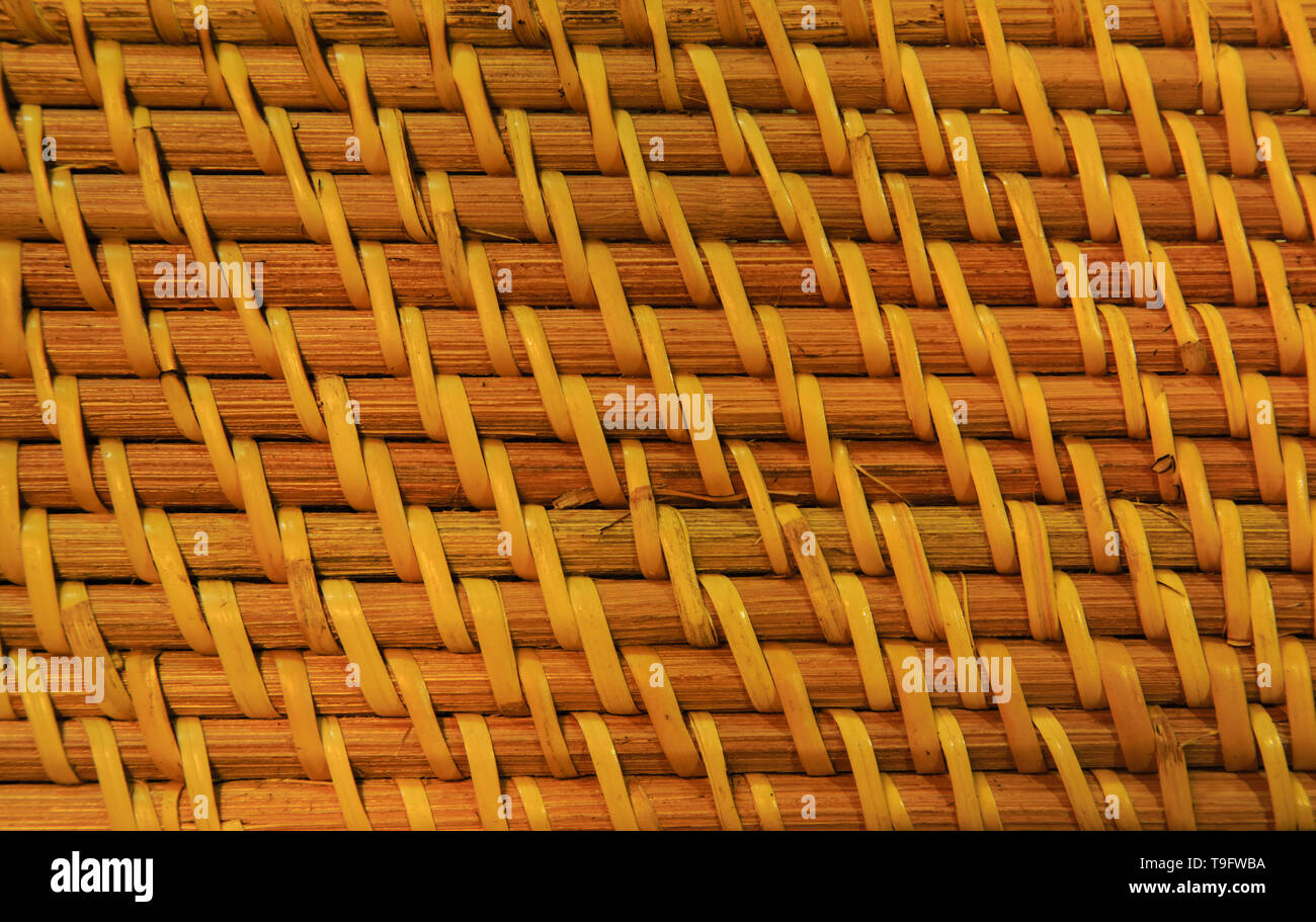basketwork wall texture close up for background user - Stock Image