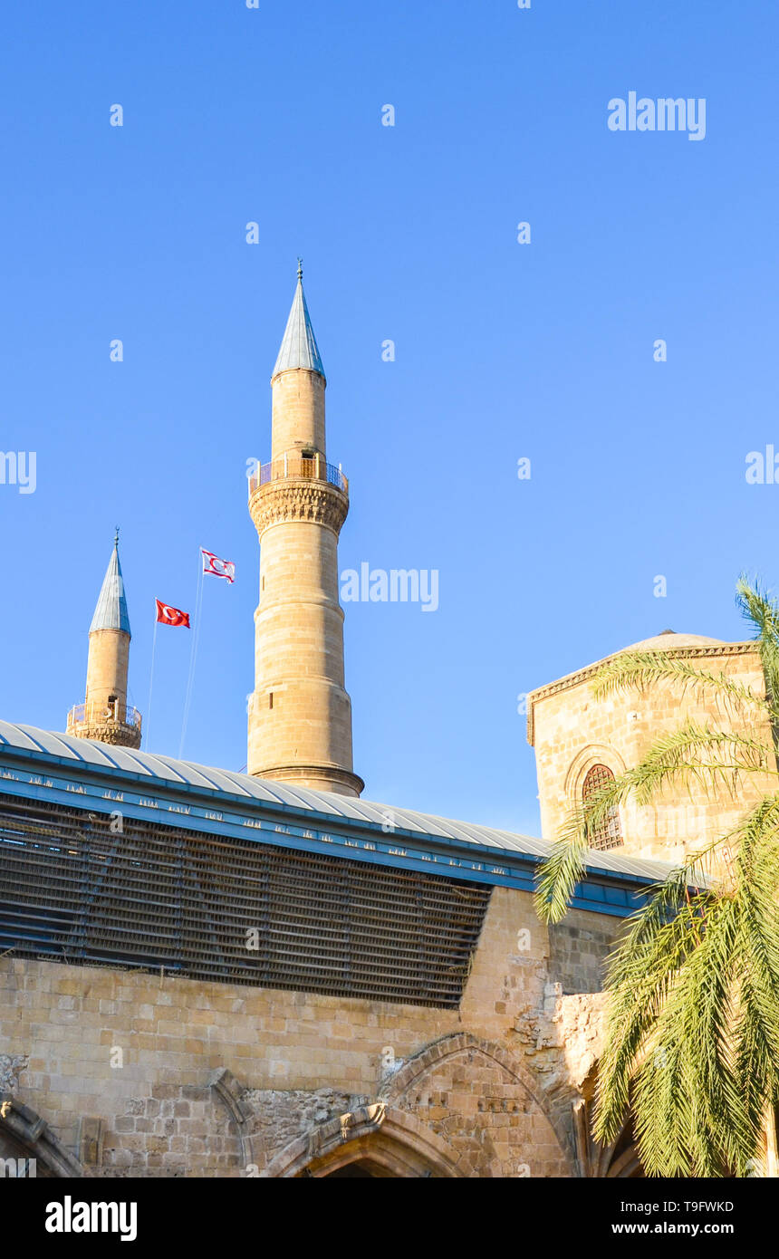 Amazing view of Selimiye Mosque in Cypriot Nicosia taken from below against blue sky. The popular tourist attraction on vertical picture - Stock Image