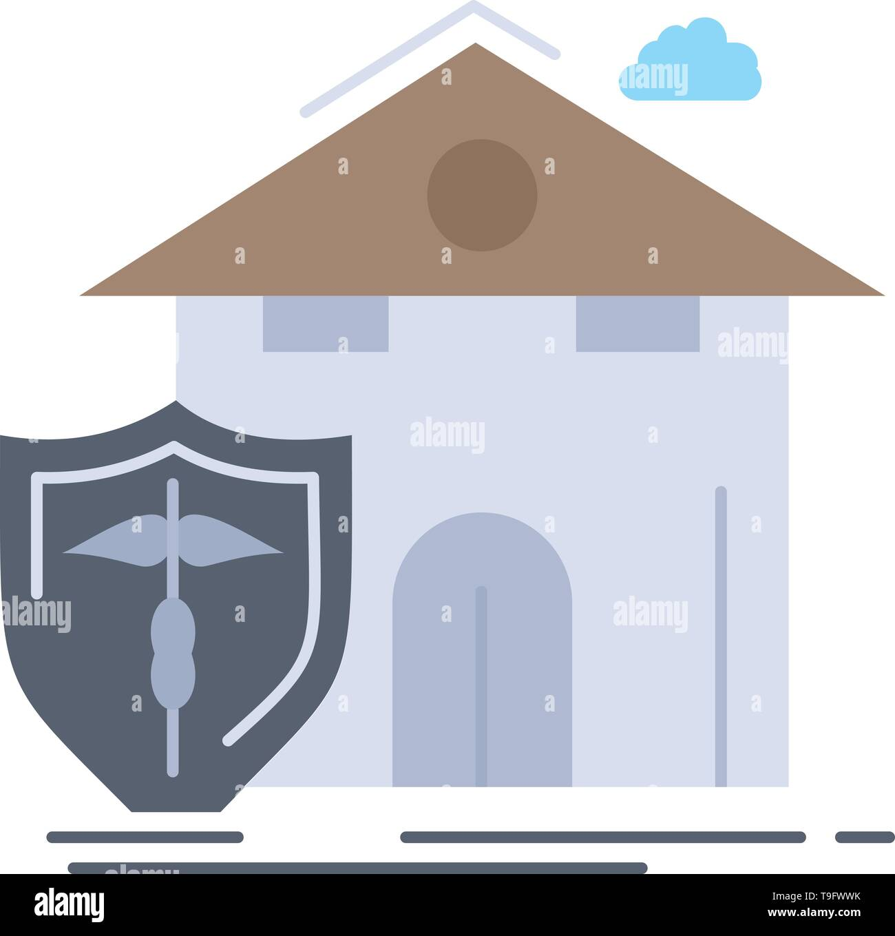 insurance, home, house, casualty, protection Flat Color Icon Vector - Stock Image