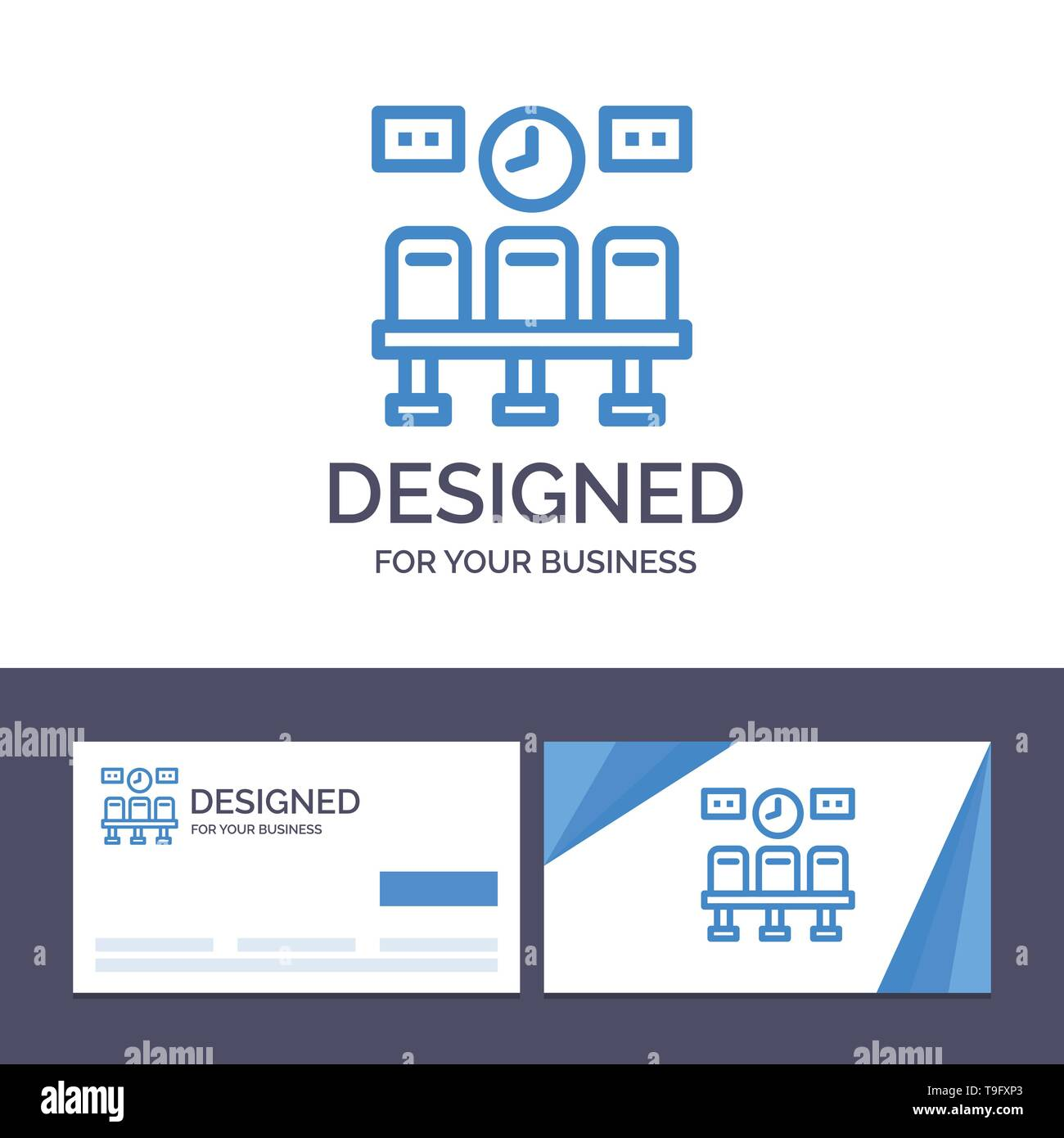 Creative Business Card and Logo template Seats, Train, Transportation, Clock Vector Illustration - Stock Image