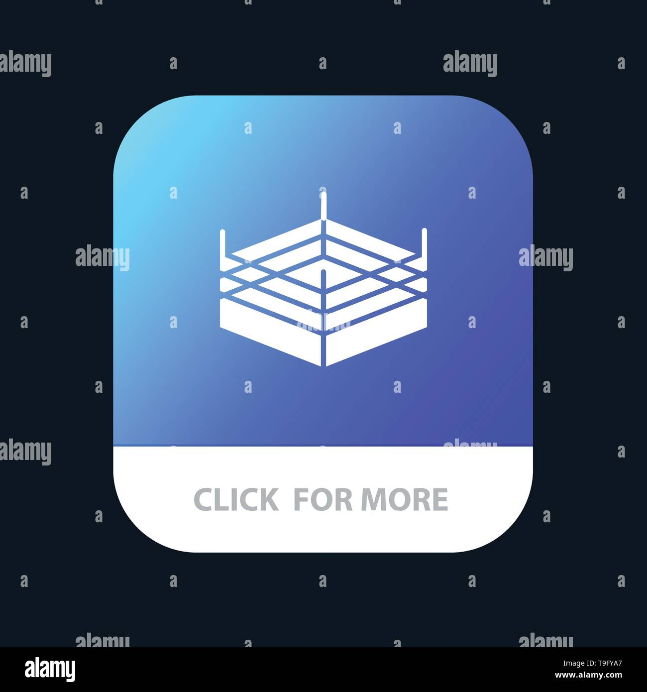 Boxing, Ring, Wrestling Mobile App Button. Android and IOS Glyph Version - Stock Image