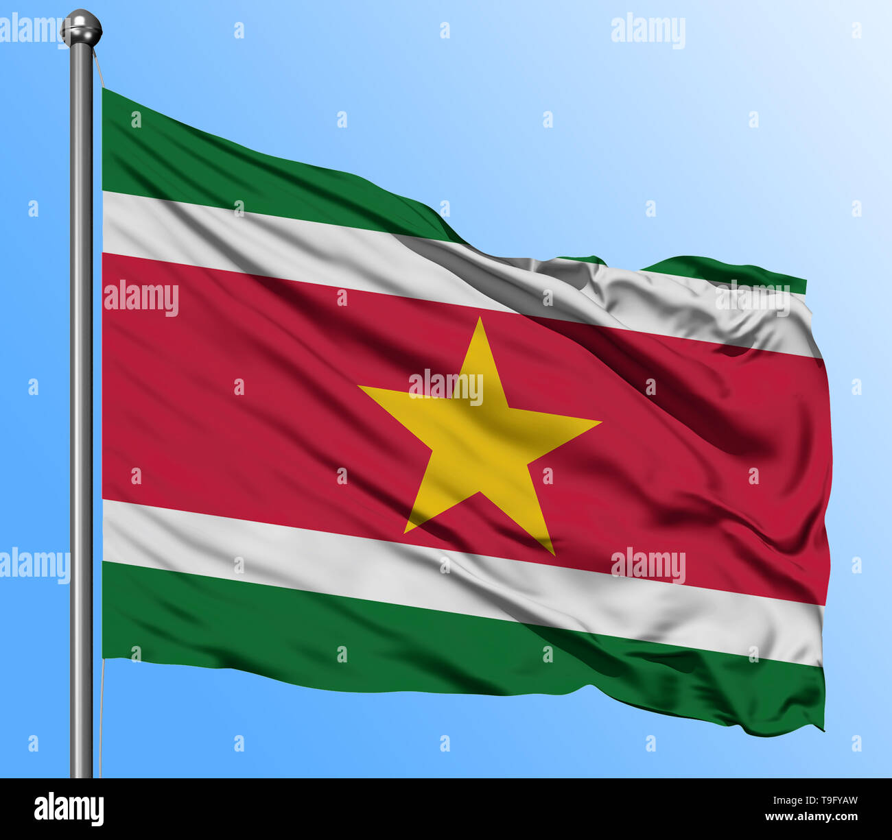 Suriname flag waving in the deep blue sky background. Isolated national flag. Macro view shot. - Stock Image