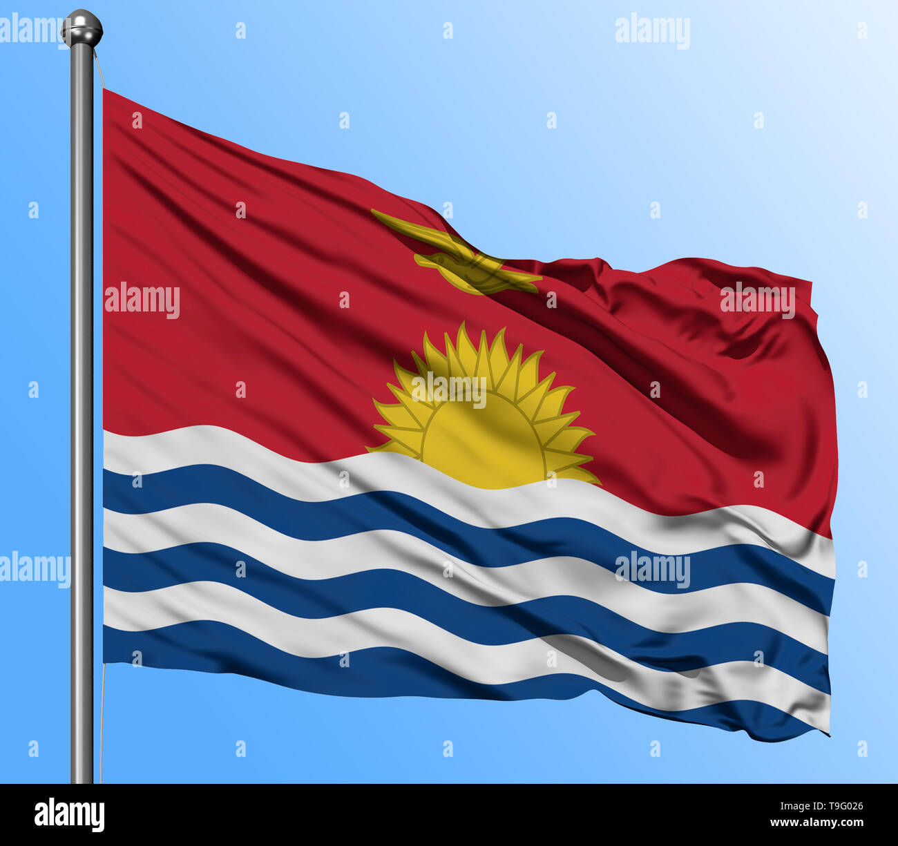 Kiribati flag waving in the deep blue sky background. Isolated national flag. Macro view shot. - Stock Image
