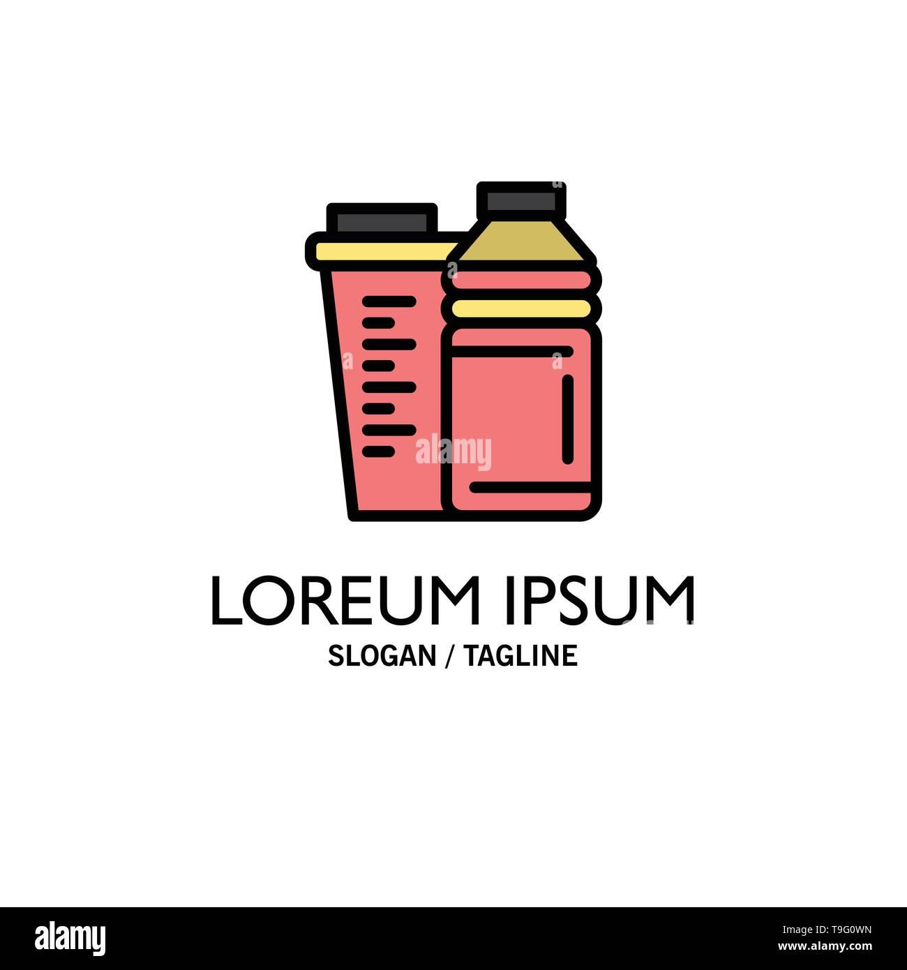 Bottle, Drink, Energy, Shaker, Sport Business Logo Template. Flat Color - Stock Image
