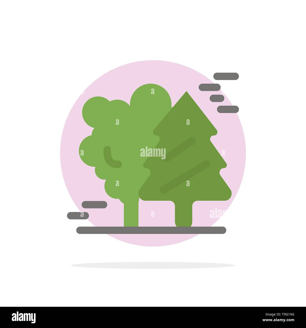 Alpine, Arctic, Canada, Pine Trees, Scandinavia Abstract Circle Background Flat color Icon - Stock Image