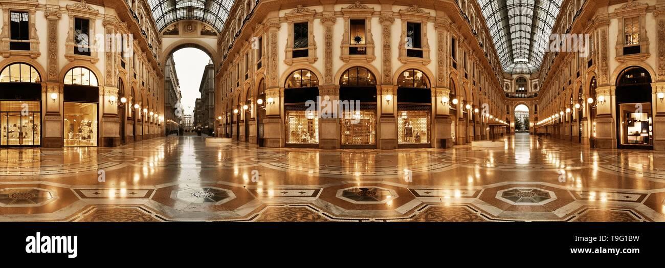 Galleria Vittorio Emanuele II shopping mall interior panorama in Milan, Italy. - Stock Image