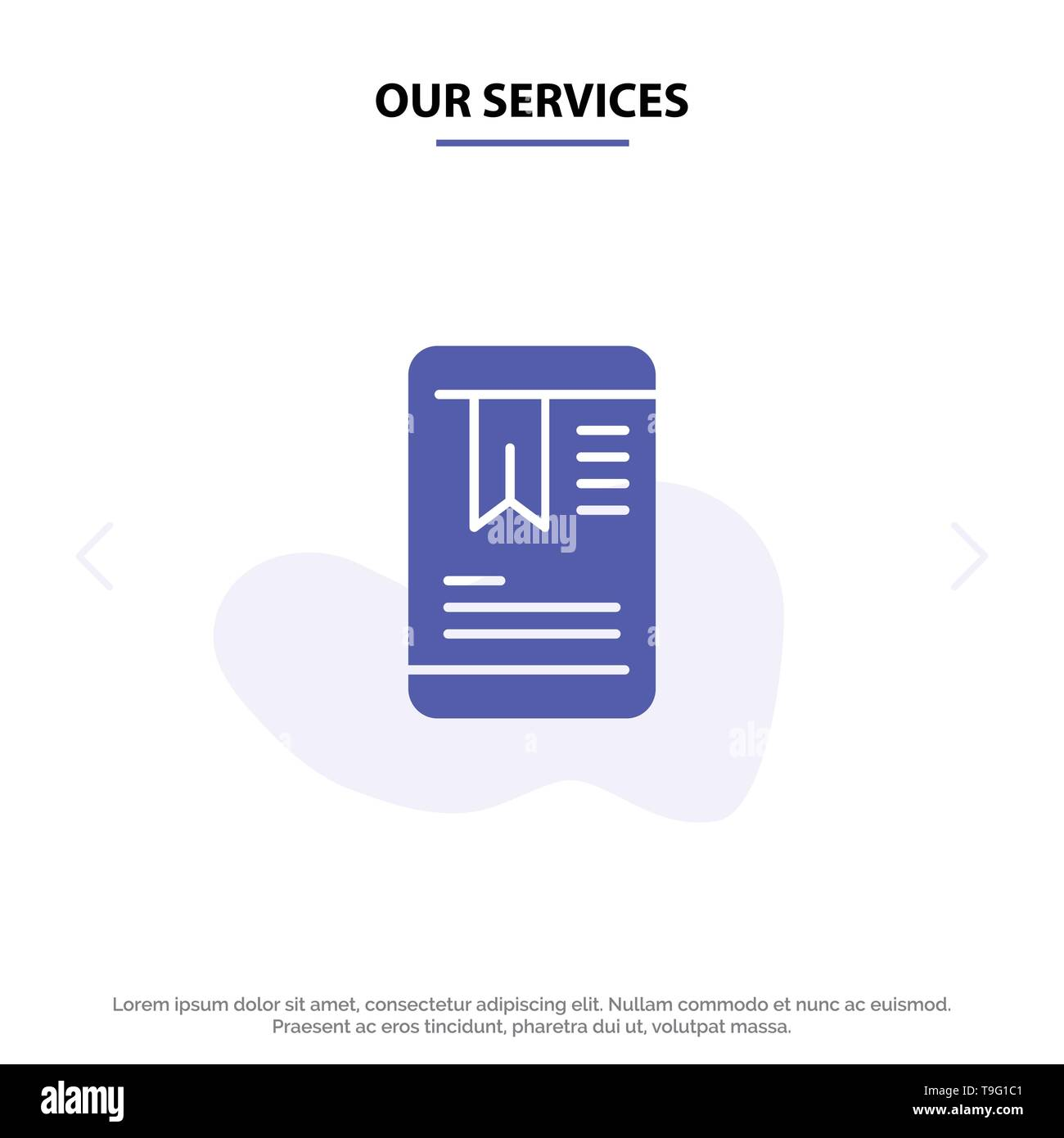 Our Services Mobile, Tag, OnEducation Solid Glyph Icon Web card Template - Stock Image