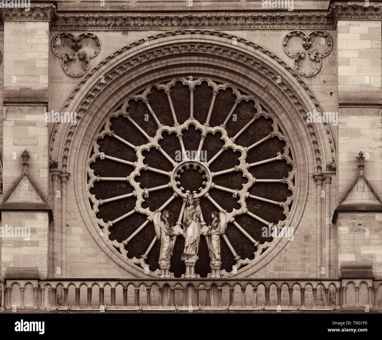 Notre Dame de Paris closeup view as the famous city landmark. - Stock Image