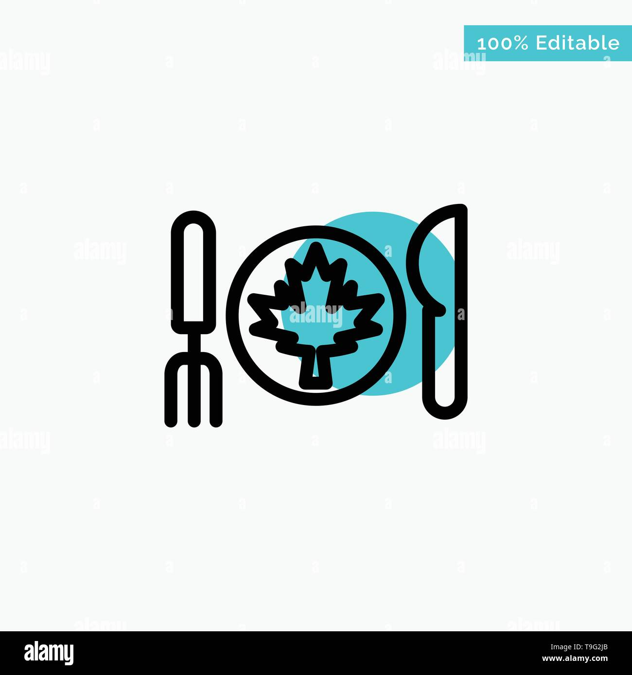 Dinner, Autumn, Canada, Leaf turquoise highlight circle point Vector icon - Stock Vector