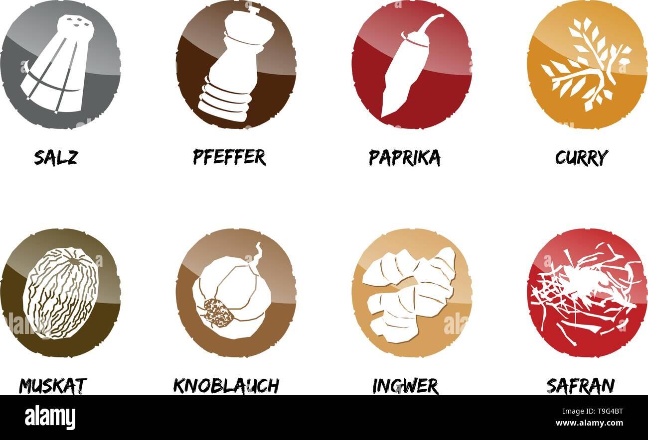 spices button icon vector season cook salt pepper - Stock Vector