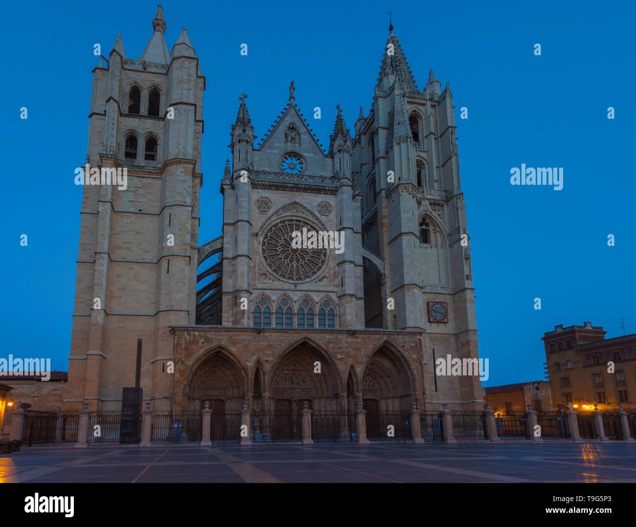 Gothic cathedral of Leon. Castilla y Leon, Spain. - Stock Image