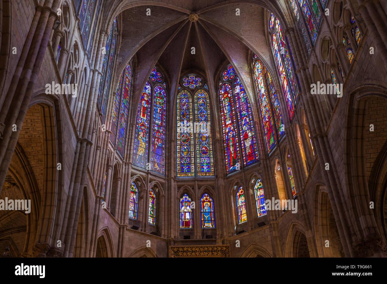 Gothic cathedral of Leon. Castilla y Leon, Spain - Stock Image