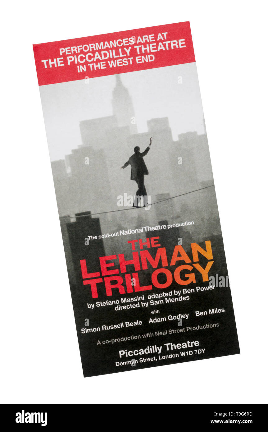Promotional flyer for 2019 National Theatre production of The Lehman Trilogy at the Piccadilly Theatre. - Stock Image