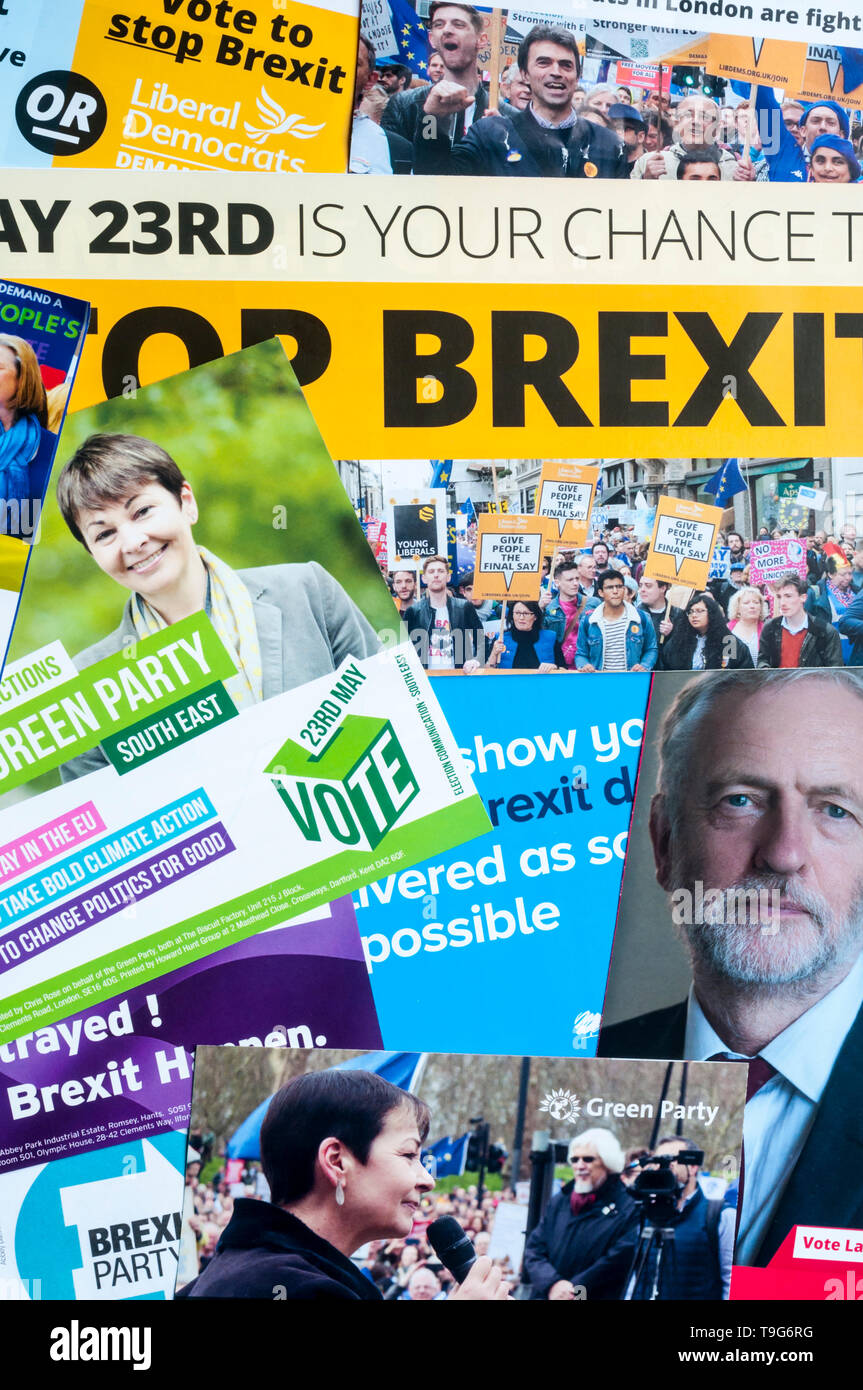 A selection of European Elections 2019 leaflets from the Labour, Green, Liberal Democrat, Conservative and Brexit parties. - Stock Image