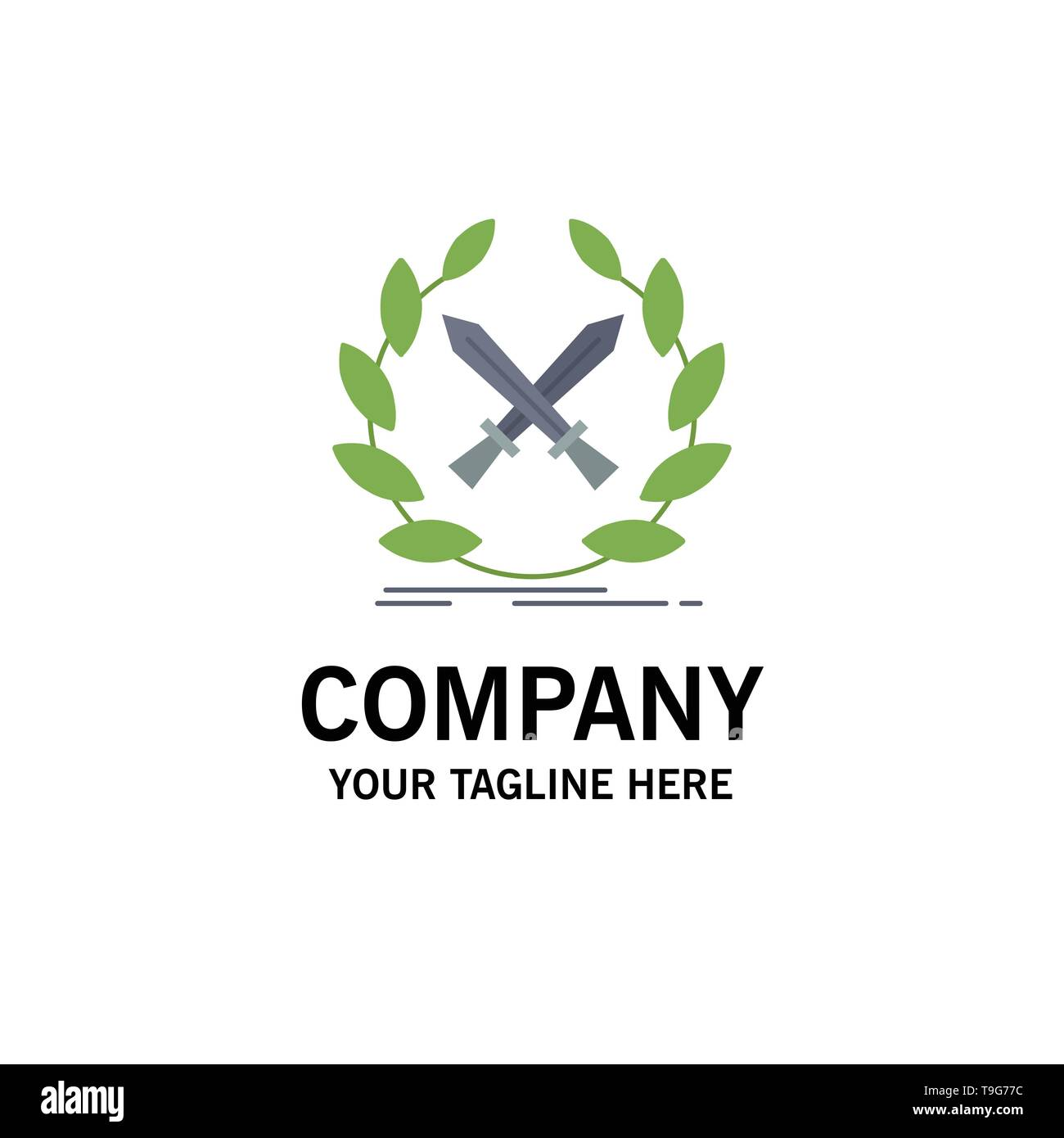 battle, emblem, game, label, swords Flat Color Icon Vector - Stock Image