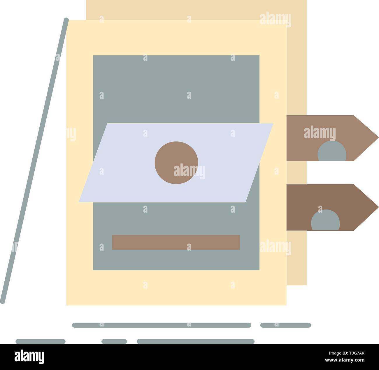 POS, Accounting, Sale, System, Files Flat Color Icon Vector - Stock Image
