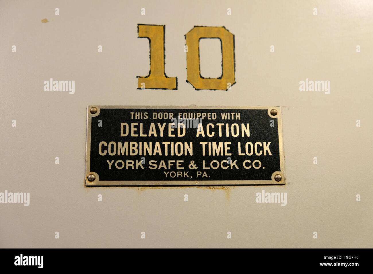 Plate on an old bank vault at the 21c Museum Hotel in Durham, North Carolina, USA; Delayed Action Combination Time Lock, York Safe & Lock Co. York PA. - Stock Image