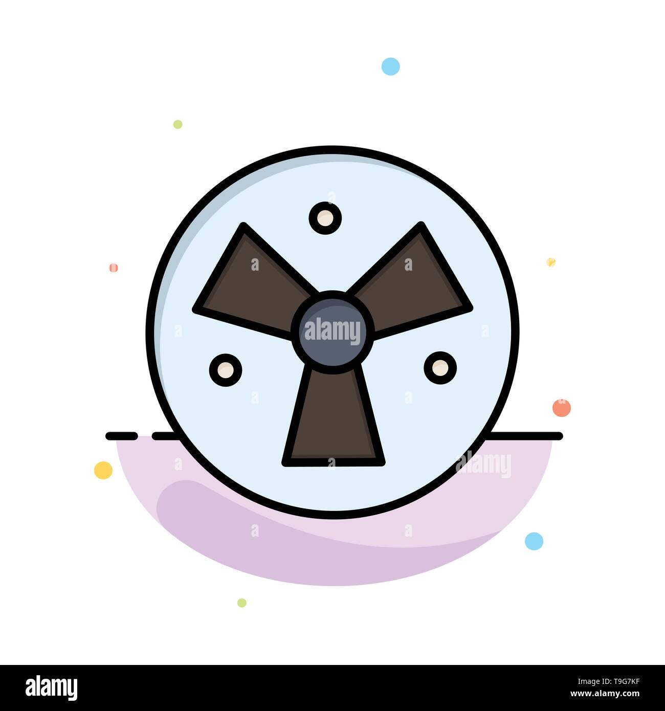 Radiation, Warning, Medical, Fan Abstract Flat Color Icon Template - Stock Image