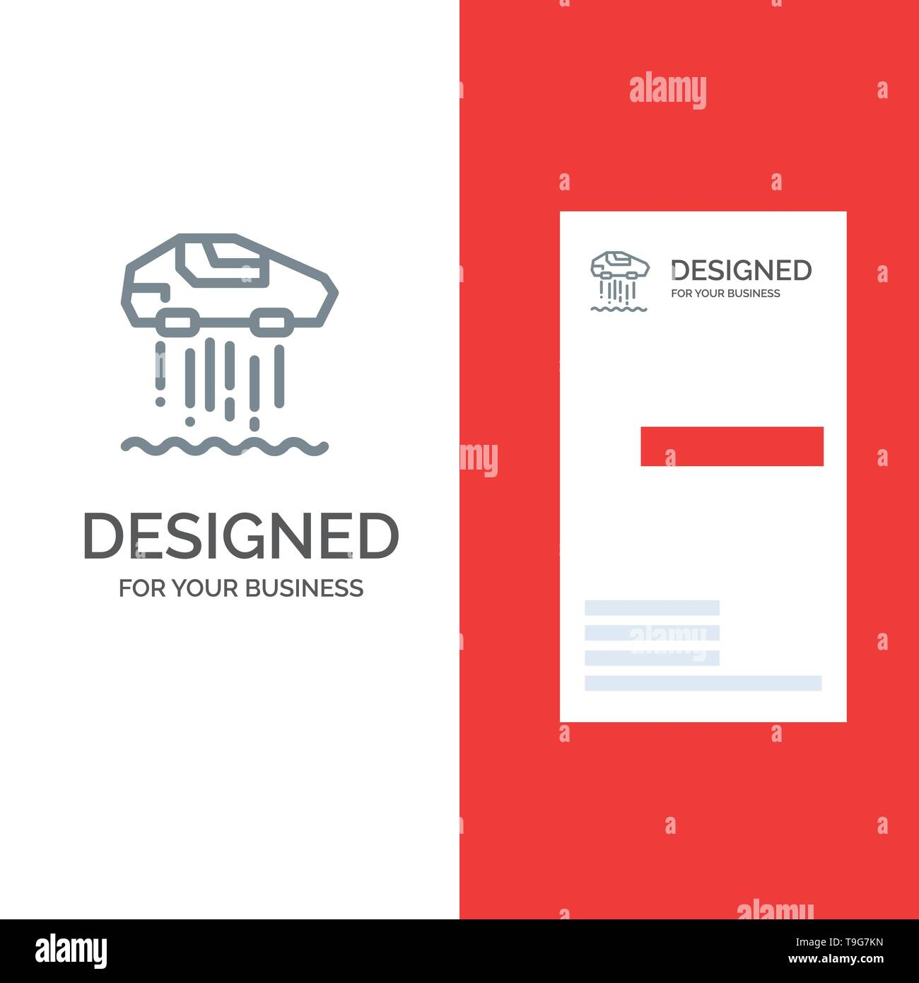 Hover car, Personal, Car, Technology Grey Logo Design and Business Card Template - Stock Image