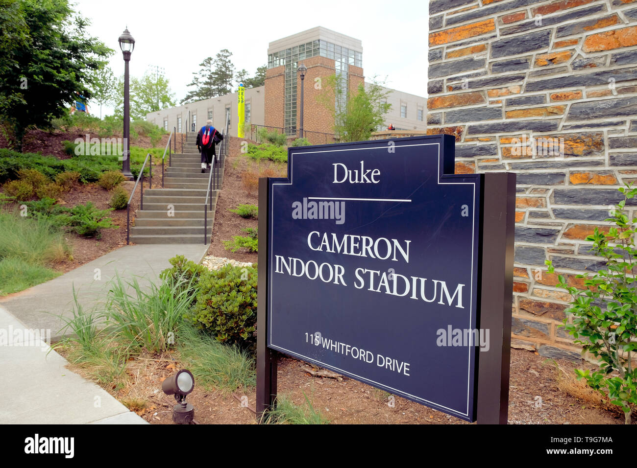 Exterior Cameron Indoor Stadium sign at Duke University in Durham, North Carolina; home of the Duke Blue Devils basketball team. - Stock Image