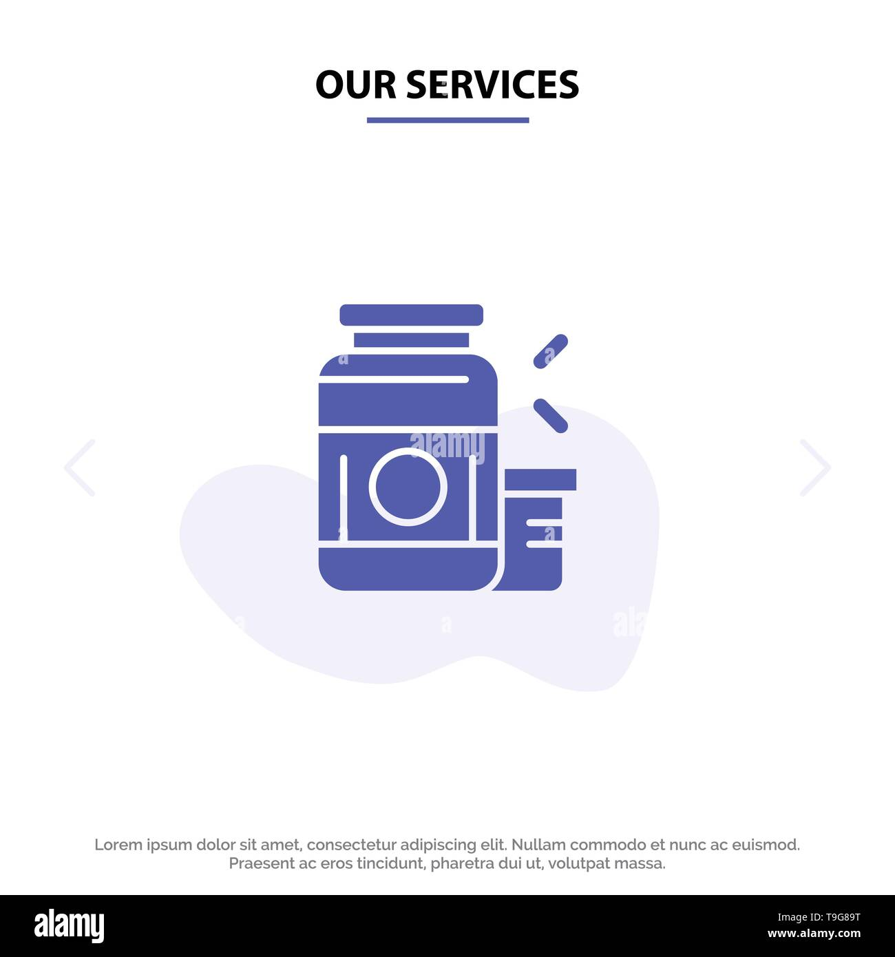 Our Services Bodybuilding, Gainer, Protein, Sports, Supplement Solid Glyph Icon Web card Template - Stock Image