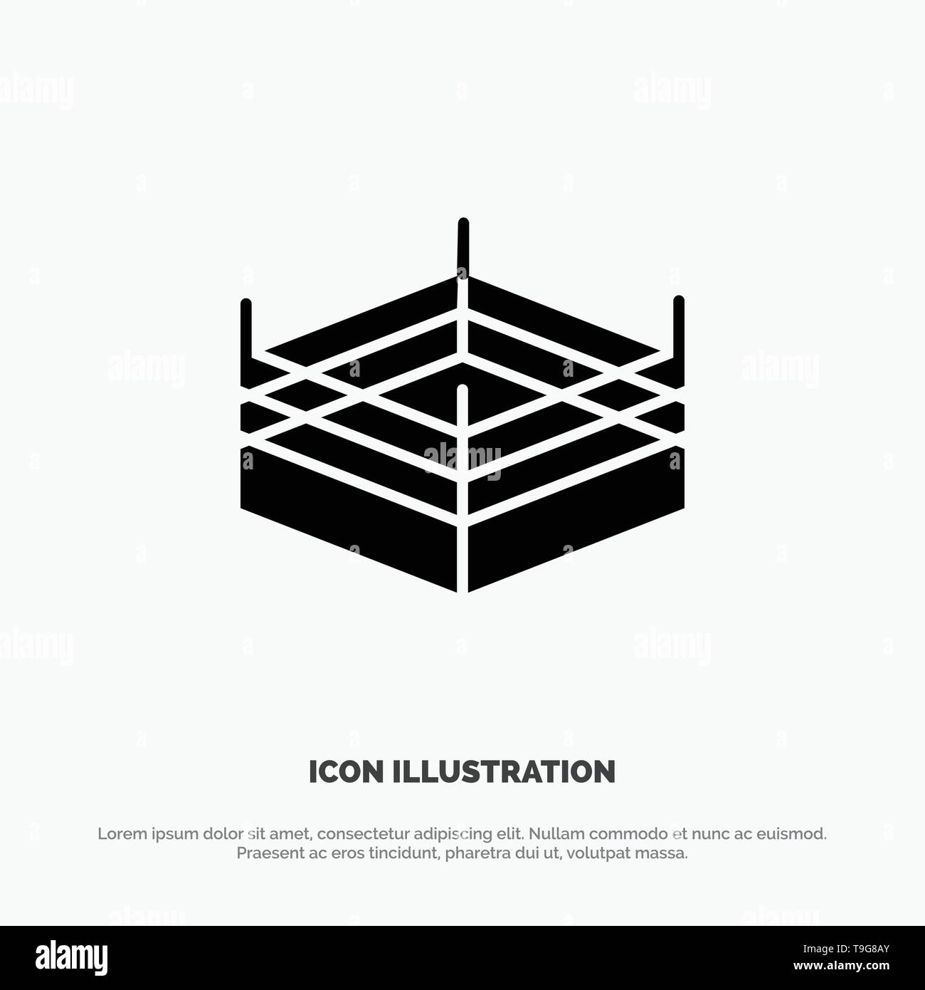 Boxing, Ring, Wrestling solid Glyph Icon vector - Stock Image