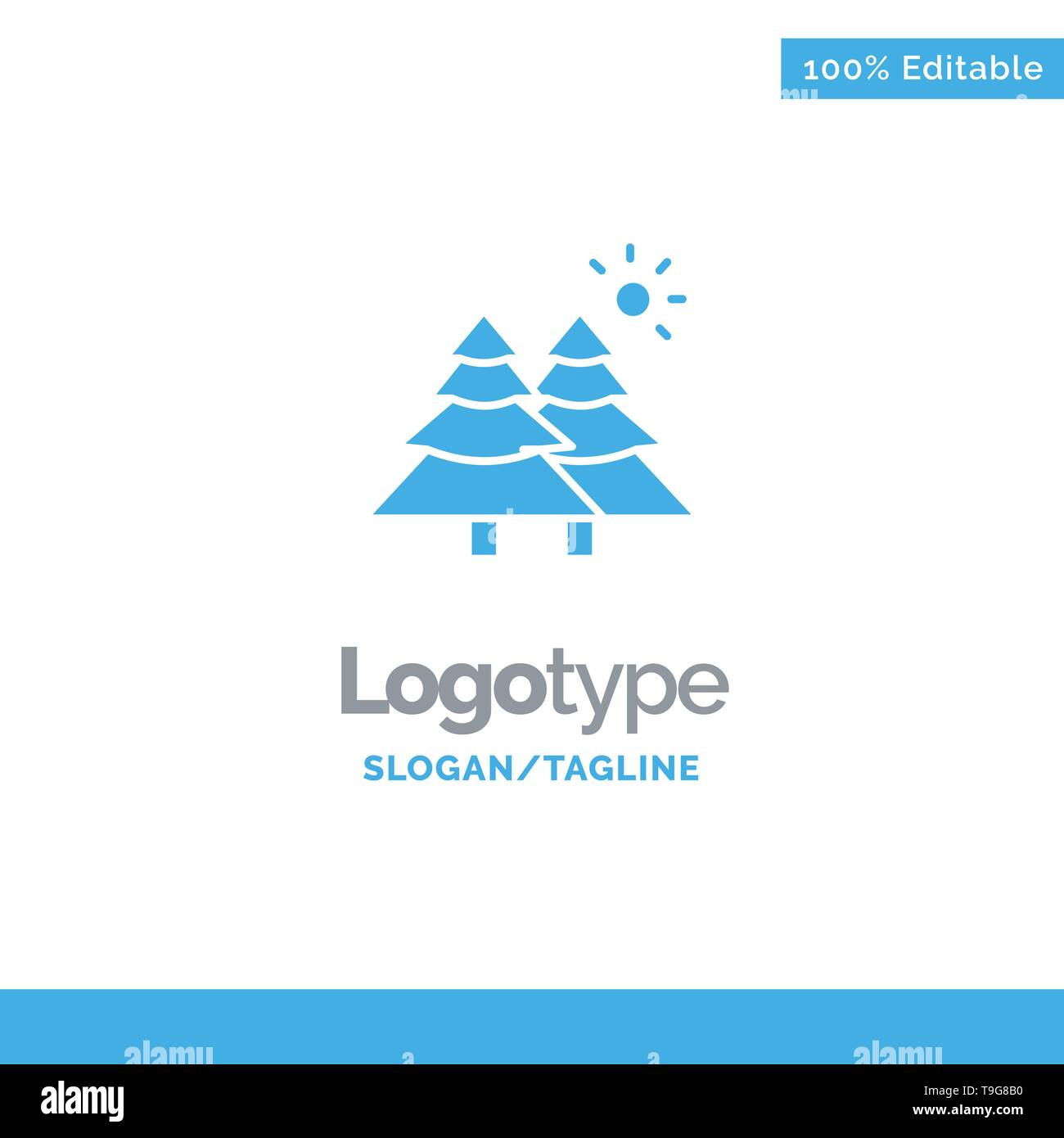 Fir, Forest, Nature, Trees Blue Business Logo Template - Stock Image