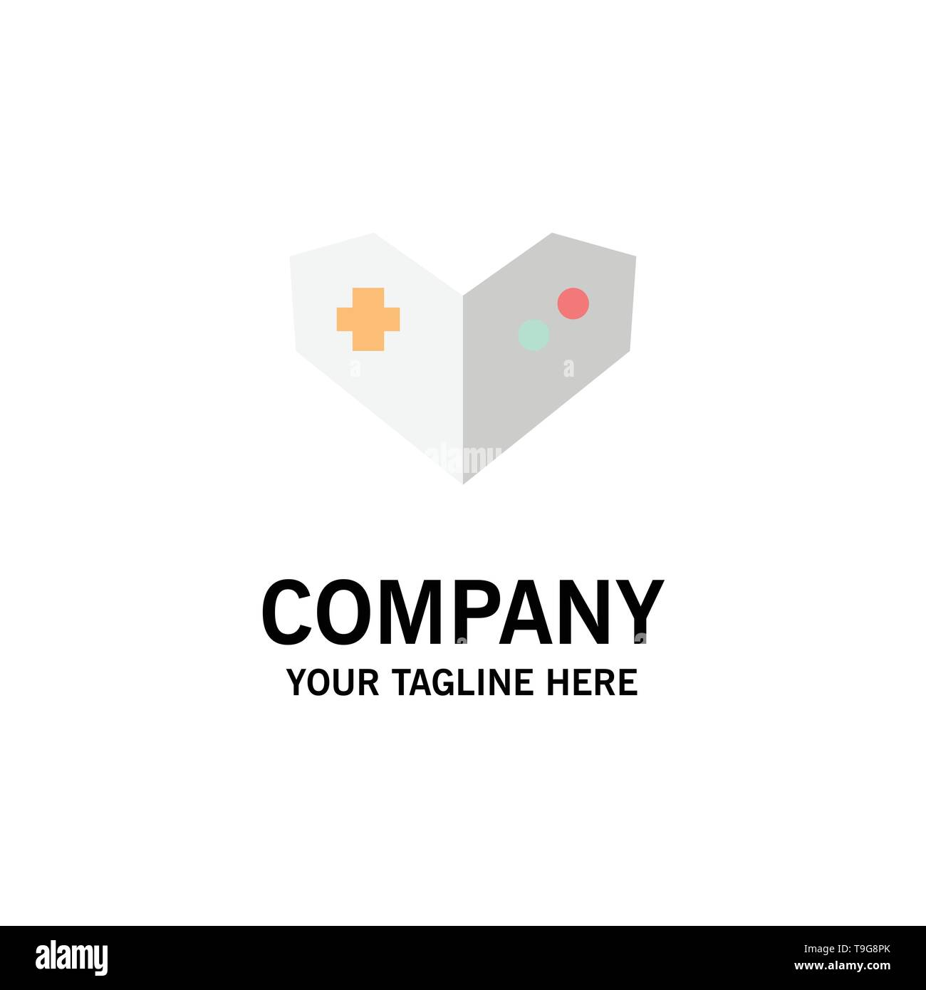 Gamepad, Videogame, PlayStation Business Logo Template. Flat Color - Stock Image