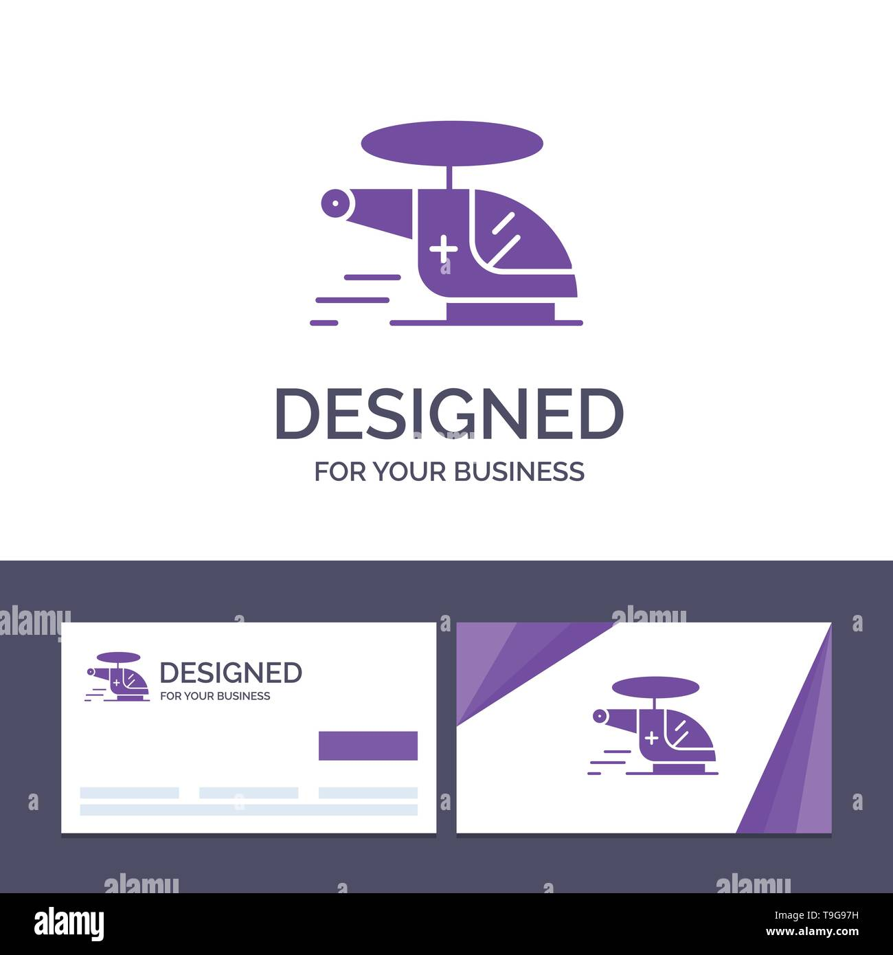 Creative Business Card and Logo template Helicopter, Chopper, Medical, Ambulance, Air Vector Illustration - Stock Image