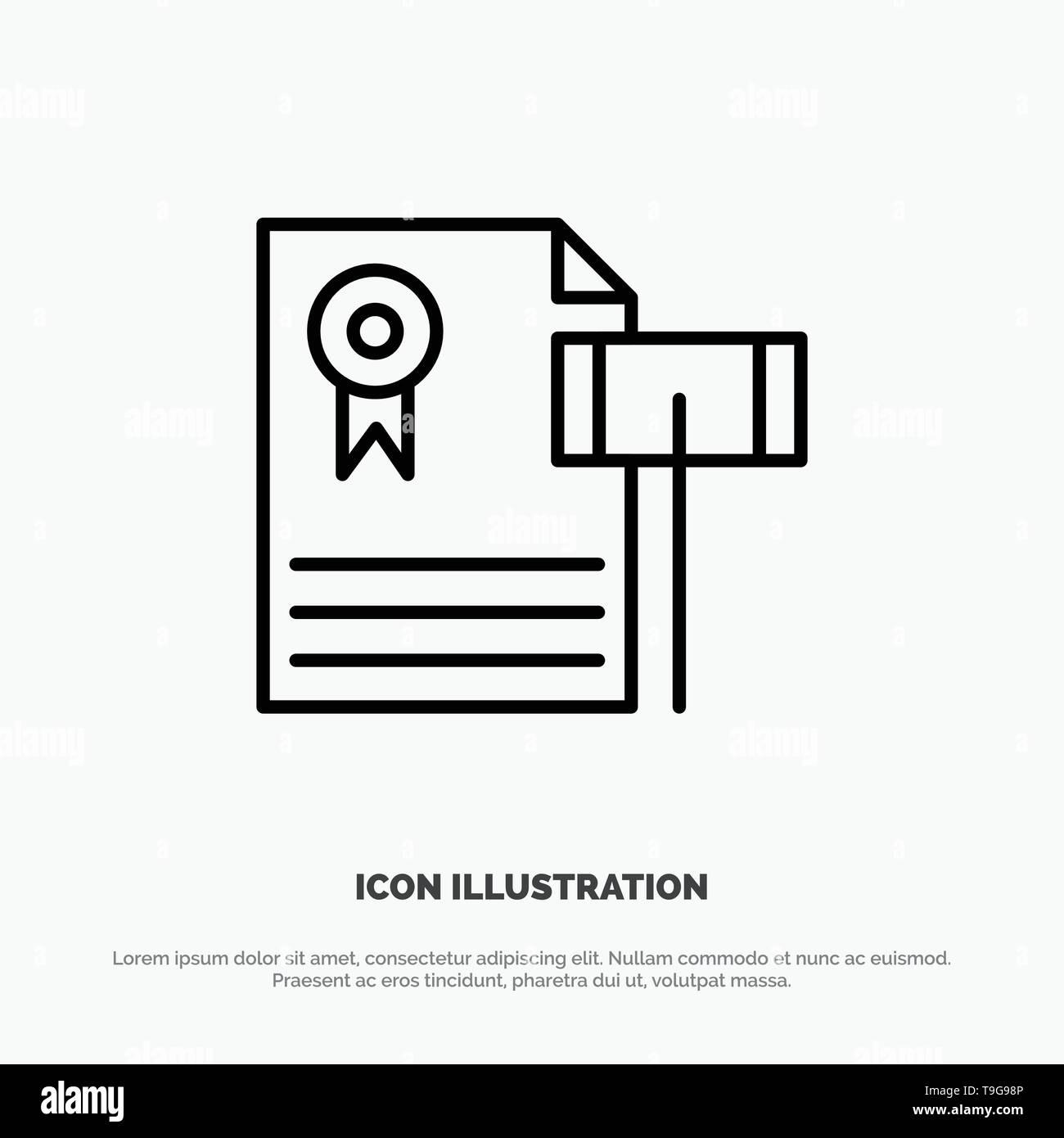Auction, Vintage, Expensive, Gravel, Judge Line Icon Vector - Stock Image