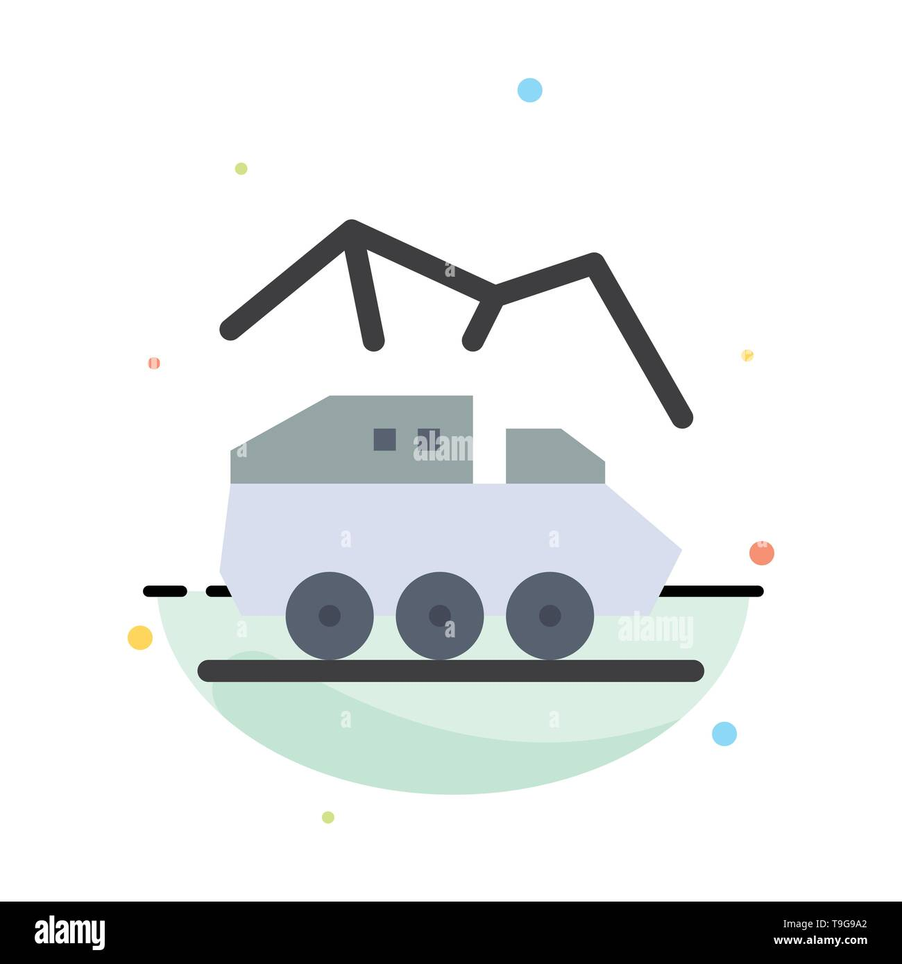 Exploration, Planet, Rover, Surface, Transport Abstract Flat Color Icon Template - Stock Image