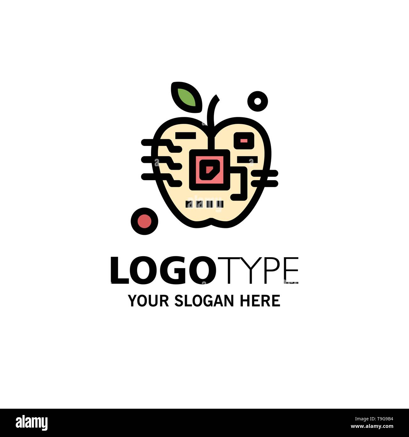 Apple, Artificial, Biology, Digital, Electronic Business Logo Template. Flat Color - Stock Image