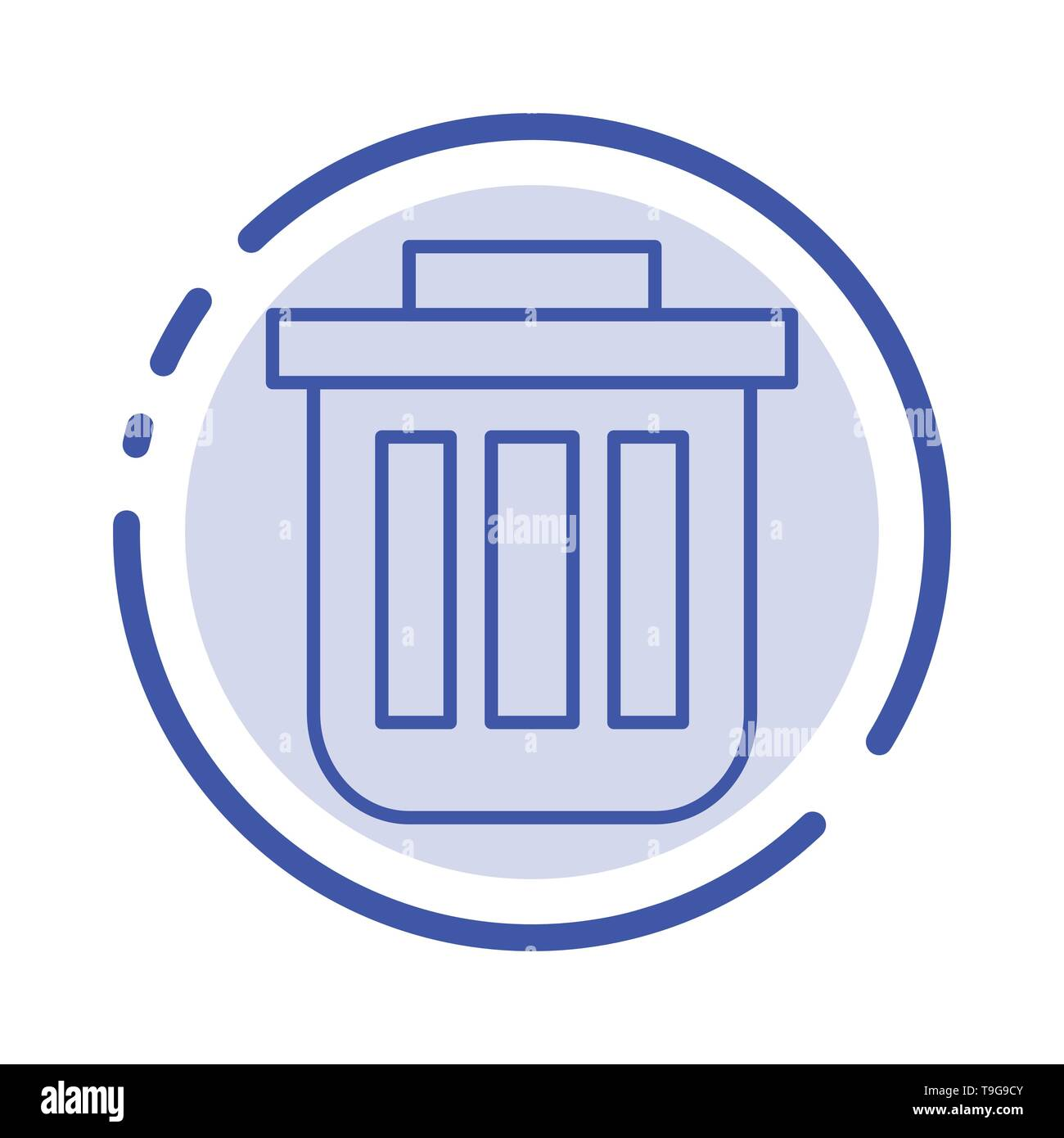 Trash, Basket, Bin, Can, Container, Dustbin, Office Blue Dotted Line Line Icon - Stock Image