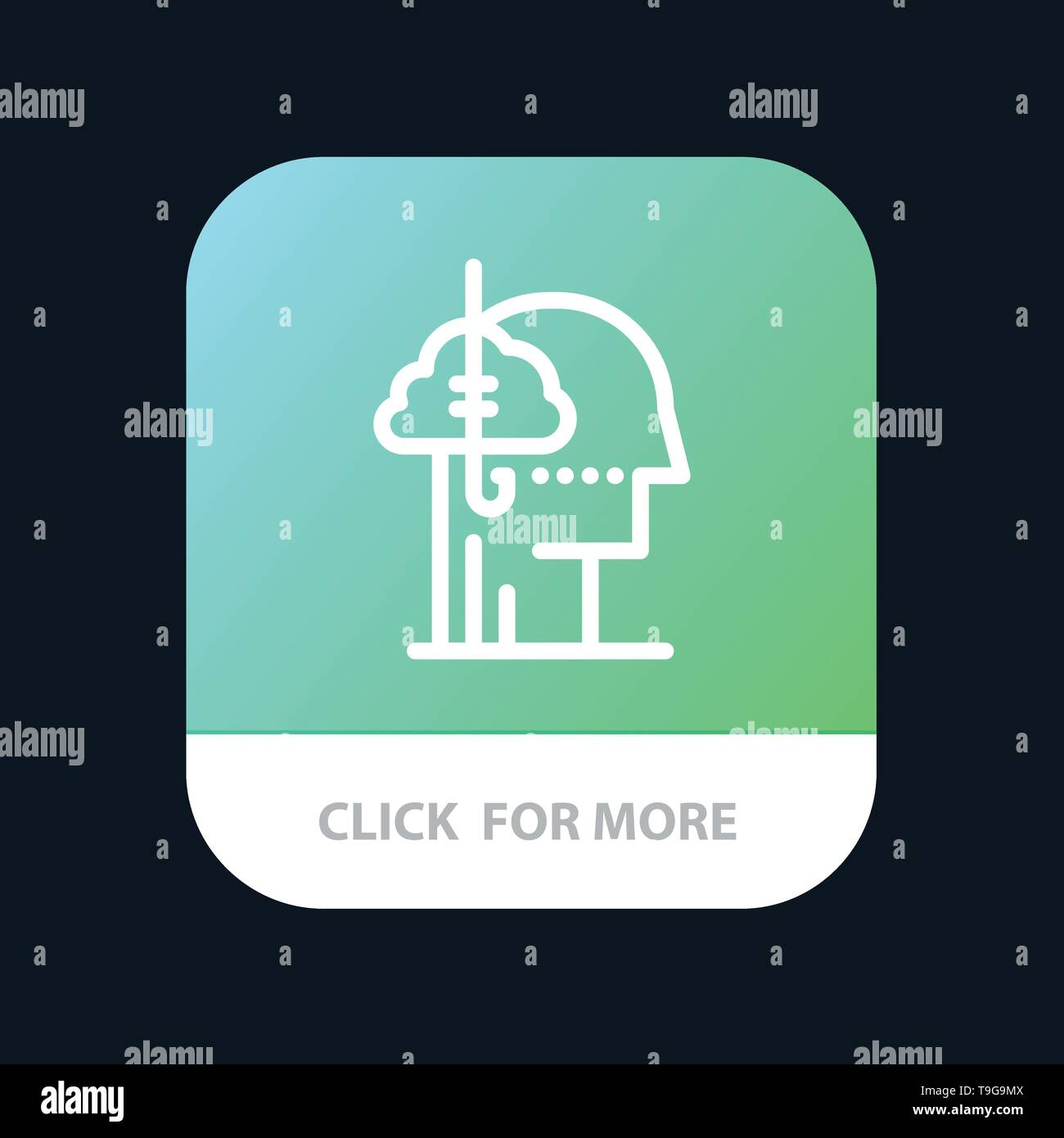 Borrowing Ideas, Addiction, Catch, Habit, Human Mobile App Button. Android and IOS Line Version - Stock Image