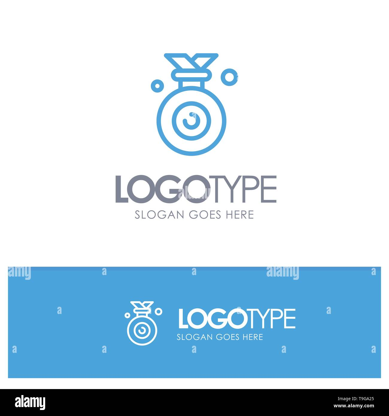 Medal, Olympic, Winner, Won Blue outLine Logo with place for tagline - Stock Vector