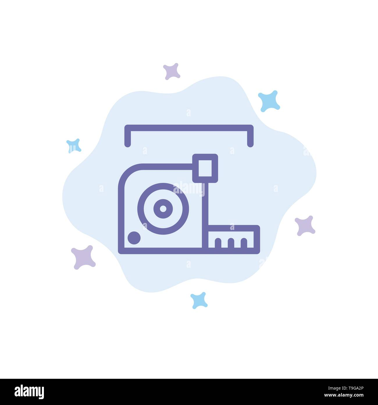 Measure, Measurement, Meter, Roulette, Ruler Blue Icon on Abstract Cloud Background - Stock Image